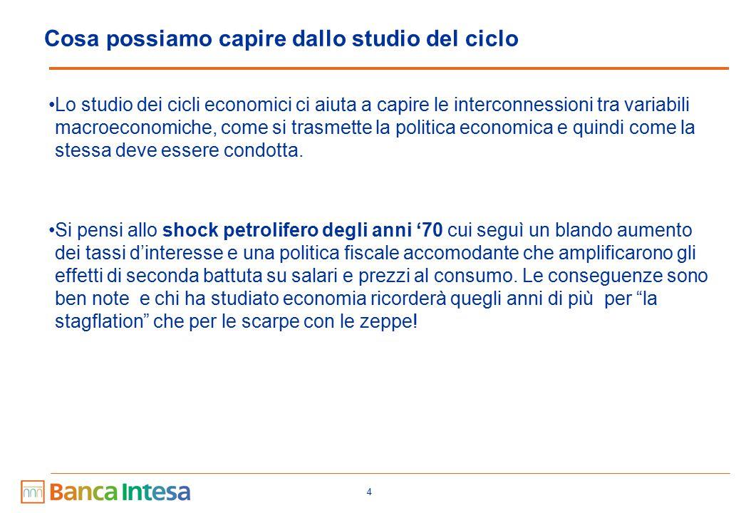 4 Cosa possiamo capire dallo studio del ciclo Lo studio dei cicli economici ci aiuta a capire le interconnessioni tra variabili macroeconomiche, come