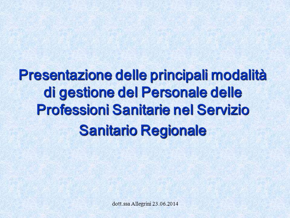 dott.ssa Allegrini 23.06.2014 Presentazione delle principali modalità di gestione del Personale delle Professioni Sanitarie nel Servizio Sanitario Reg