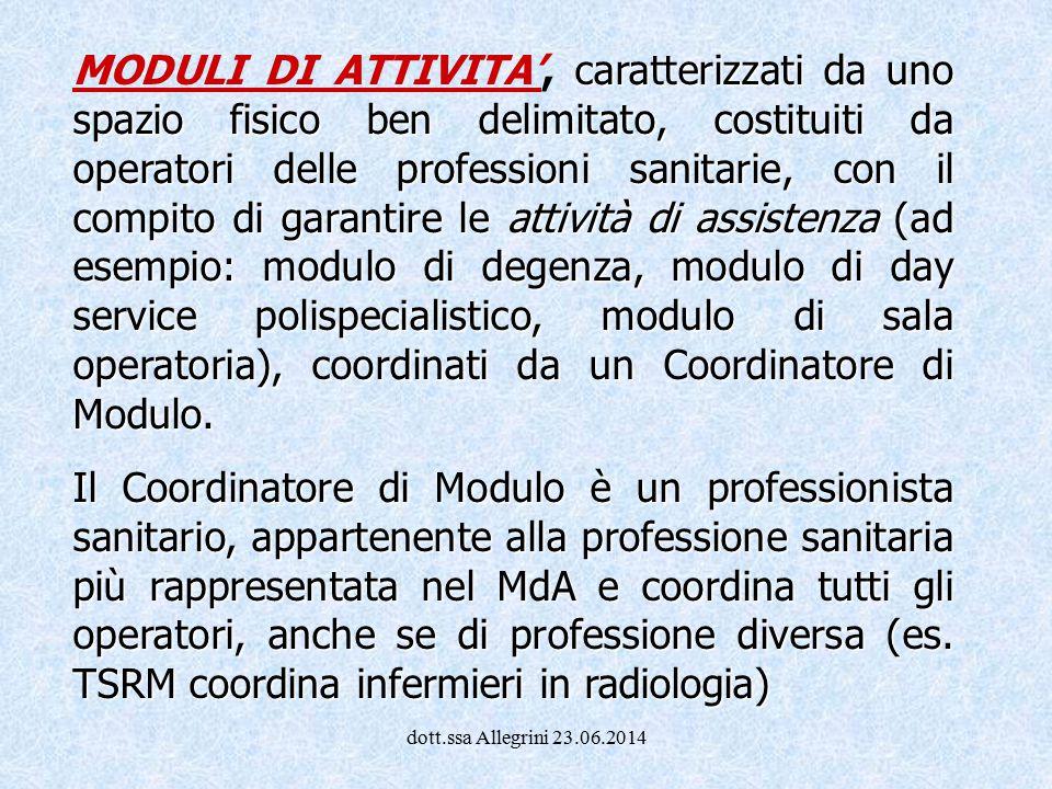 dott.ssa Allegrini 23.06.2014 caratterizzati da uno spazio fisico ben delimitato, costituiti da operatori delle professioni sanitarie, con il compito