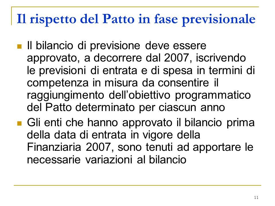 11 Il rispetto del Patto in fase previsionale Il bilancio di previsione deve essere approvato, a decorrere dal 2007, iscrivendo le previsioni di entra