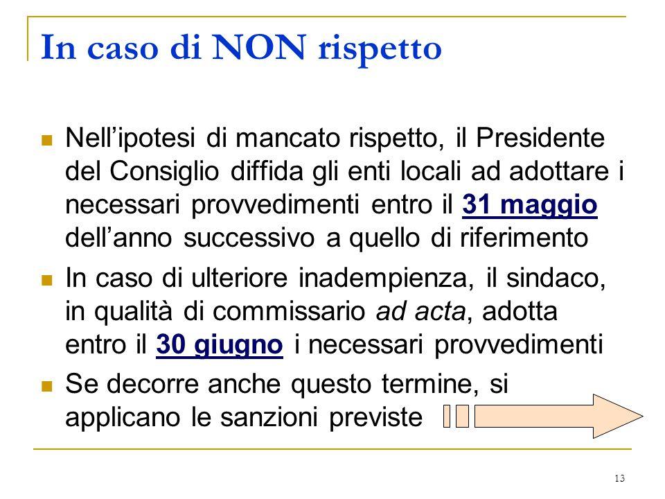 13 In caso di NON rispetto Nell'ipotesi di mancato rispetto, il Presidente del Consiglio diffida gli enti locali ad adottare i necessari provvedimenti