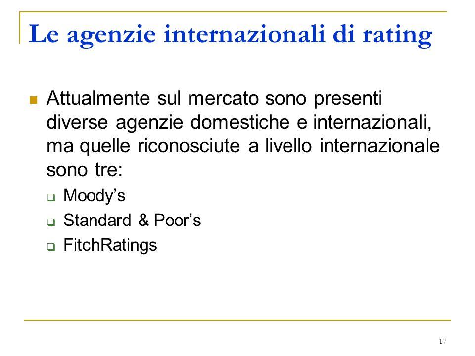 17 Le agenzie internazionali di rating Attualmente sul mercato sono presenti diverse agenzie domestiche e internazionali, ma quelle riconosciute a livello internazionale sono tre:  Moody's  Standard & Poor's  FitchRatings