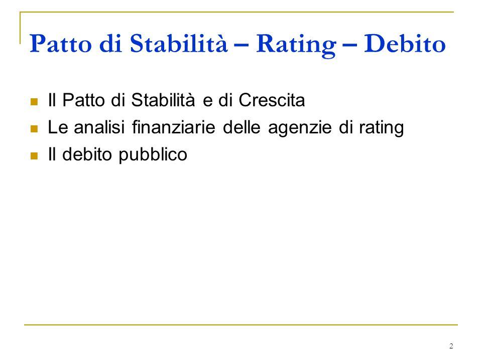 2 Il Patto di Stabilità e di Crescita Le analisi finanziarie delle agenzie di rating Il debito pubblico Patto di Stabilità – Rating – Debito