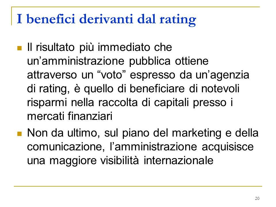 """20 I benefici derivanti dal rating Il risultato più immediato che un'amministrazione pubblica ottiene attraverso un """"voto"""" espresso da un'agenzia di r"""
