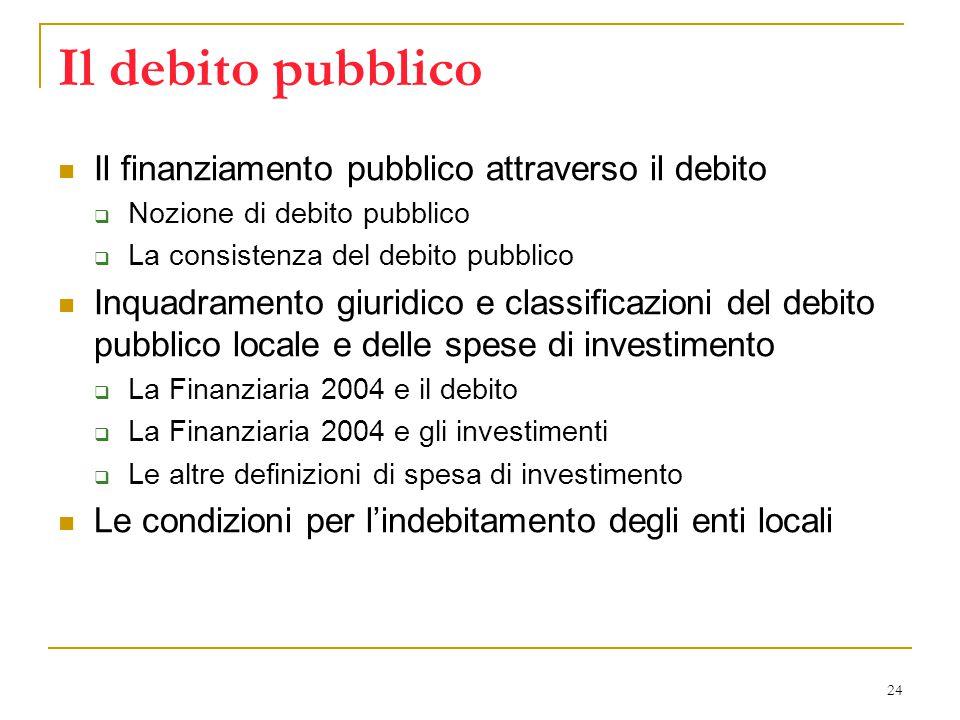 24 Il debito pubblico Il finanziamento pubblico attraverso il debito  Nozione di debito pubblico  La consistenza del debito pubblico Inquadramento giuridico e classificazioni del debito pubblico locale e delle spese di investimento  La Finanziaria 2004 e il debito  La Finanziaria 2004 e gli investimenti  Le altre definizioni di spesa di investimento Le condizioni per l'indebitamento degli enti locali