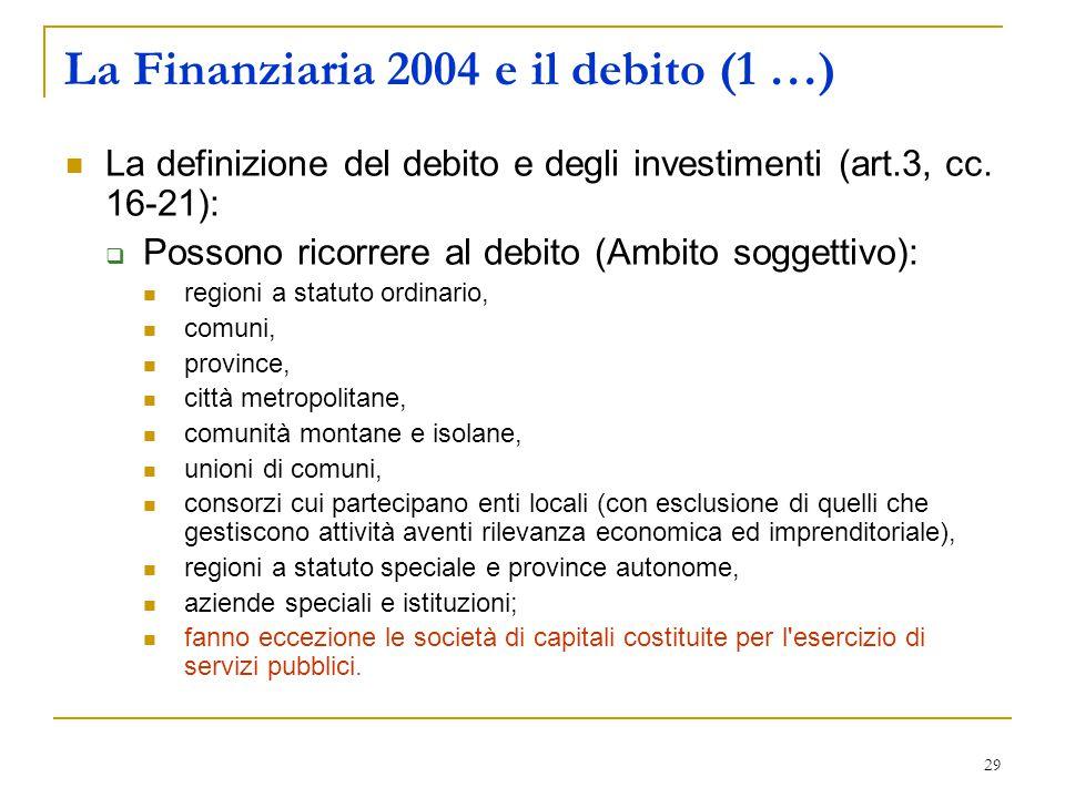 29 La Finanziaria 2004 e il debito (1 …) La definizione del debito e degli investimenti (art.3, cc. 16-21):  Possono ricorrere al debito (Ambito sogg