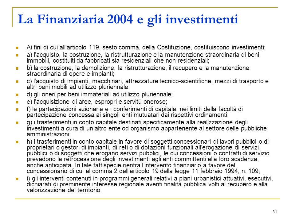 31 La Finanziaria 2004 e gli investimenti Ai fini di cui all'articolo 119, sesto comma, della Costituzione, costituiscono investimenti: a) l'acquisto, la costruzione, la ristrutturazione e la manutenzione straordinaria di beni immobili, costituiti da fabbricati sia residenziali che non residenziali; b) la costruzione, la demolizione, la ristrutturazione, il recupero e la manutenzione straordinaria di opere e impianti; c) l'acquisto di impianti, macchinari, attrezzature tecnico-scientifiche, mezzi di trasporto e altri beni mobili ad utilizzo pluriennale; d) gli oneri per beni immateriali ad utilizzo pluriennale; e) l'acquisizione di aree, espropri e servitù onerose; f) le partecipazioni azionarie e i conferimenti di capitale, nei limiti della facoltà di partecipazione concessa ai singoli enti mutuatari dai rispettivi ordinamenti; g) i trasferimenti in conto capitale destinati specificamente alla realizzazione degli investimenti a cura di un altro ente od organismo appartenente al settore delle pubbliche amministrazioni; h) i trasferimenti in conto capitale in favore di soggetti concessionari di lavori pubblici o di proprietari o gestori di impianti, di reti o di dotazioni funzionali all'erogazione di servizi pubblici o di soggetti che erogano servizi pubblici, le cui concessioni o contratti di servizio prevedono la retrocessione degli investimenti agli enti committenti alla loro scadenza, anche anticipata.