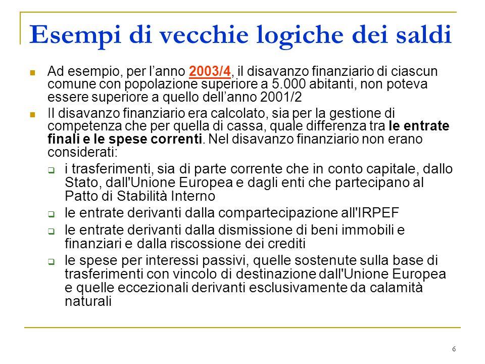 6 Esempi di vecchie logiche dei saldi Ad esempio, per l'anno 2003/4, il disavanzo finanziario di ciascun comune con popolazione superiore a 5.000 abit