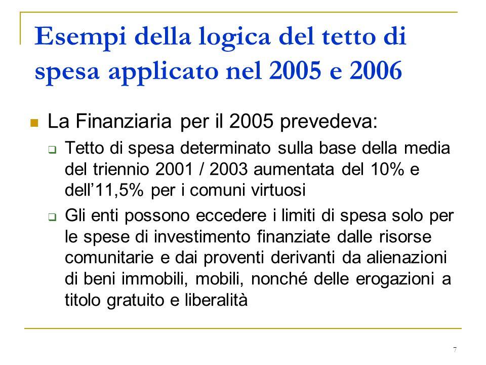 7 Esempi della logica del tetto di spesa applicato nel 2005 e 2006 La Finanziaria per il 2005 prevedeva:  Tetto di spesa determinato sulla base della media del triennio 2001 / 2003 aumentata del 10% e dell'11,5% per i comuni virtuosi  Gli enti possono eccedere i limiti di spesa solo per le spese di investimento finanziate dalle risorse comunitarie e dai proventi derivanti da alienazioni di beni immobili, mobili, nonché delle erogazioni a titolo gratuito e liberalità