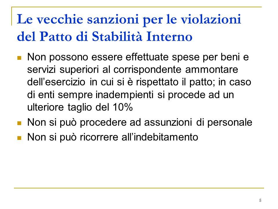 8 Le vecchie sanzioni per le violazioni del Patto di Stabilità Interno Non possono essere effettuate spese per beni e servizi superiori al corrisponde