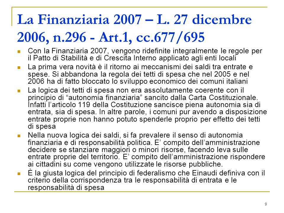 9 La Finanziaria 2007 – L. 27 dicembre 2006, n.296 - Art.1, cc.677/695 Con la Finanziaria 2007, vengono ridefinite integralmente le regole per il Patt