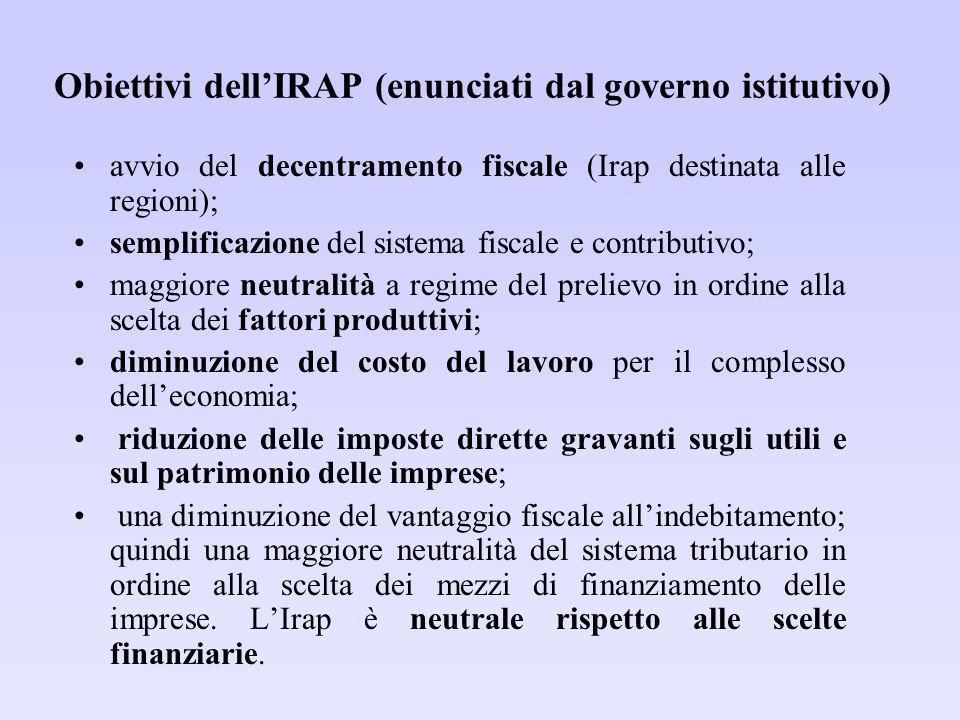 Obiettivi dell'IRAP (enunciati dal governo istitutivo) avvio del decentramento fiscale (Irap destinata alle regioni); semplificazione del sistema fisc