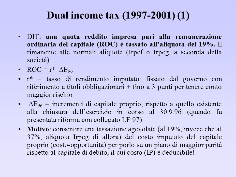 Dual income tax (1997-2001) (1) DIT: una quota reddito impresa pari alla remunerazione ordinaria del capitale (ROC) è tassato all'aliquota del 19%. Il