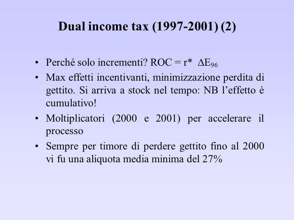 Dual income tax (1997-2001) (2) Perché solo incrementi? ROC = r*  E 96 Max effetti incentivanti, minimizzazione perdita di gettito. Si arriva a stock