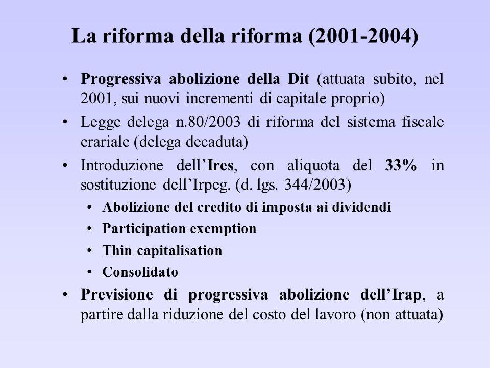 La riforma della riforma (2001-2004) Progressiva abolizione della Dit (attuata subito, nel 2001, sui nuovi incrementi di capitale proprio) Legge deleg