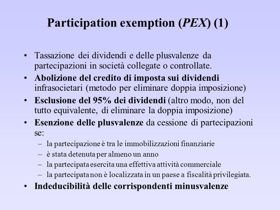 Participation exemption (PEX) (1) Tassazione dei dividendi e delle plusvalenze da partecipazioni in società collegate o controllate. Abolizione del cr