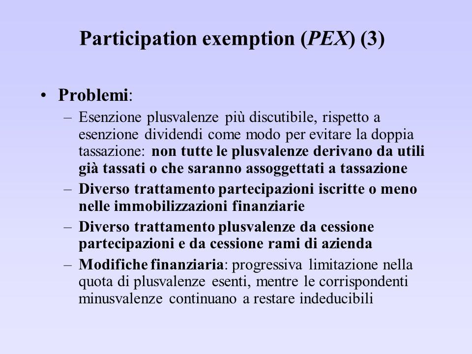 Participation exemption (PEX) (3) Problemi: –Esenzione plusvalenze più discutibile, rispetto a esenzione dividendi come modo per evitare la doppia tas