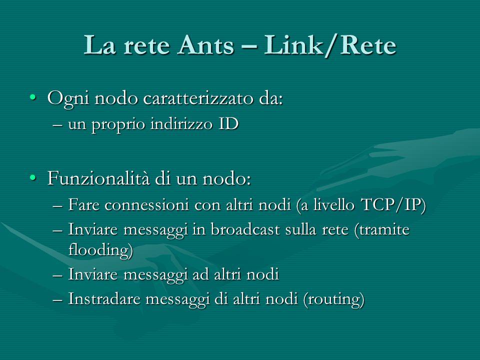 La rete Ants – Link/Rete Ogni nodo caratterizzato da:Ogni nodo caratterizzato da: –un proprio indirizzo ID Funzionalità di un nodo:Funzionalità di un nodo: –Fare connessioni con altri nodi (a livello TCP/IP) –Inviare messaggi in broadcast sulla rete (tramite flooding) –Inviare messaggi ad altri nodi –Instradare messaggi di altri nodi (routing)