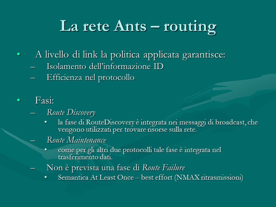 La rete Ants – routing A livello di link la politica applicata garantisce:A livello di link la politica applicata garantisce: –Isolamento dell'informa