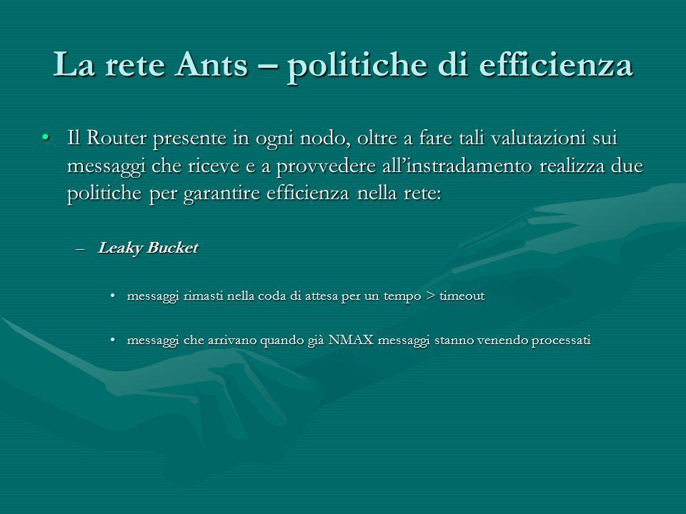 La rete Ants – politiche di efficienza Il Router presente in ogni nodo, oltre a fare tali valutazioni sui messaggi che riceve e a provvedere all'instr
