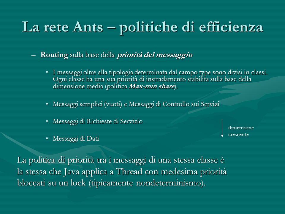 La rete Ants – politiche di efficienza –Routing sulla base della priorità del messaggio I messaggi oltre alla tipologia determinata dal campo type sono divisi in classi.
