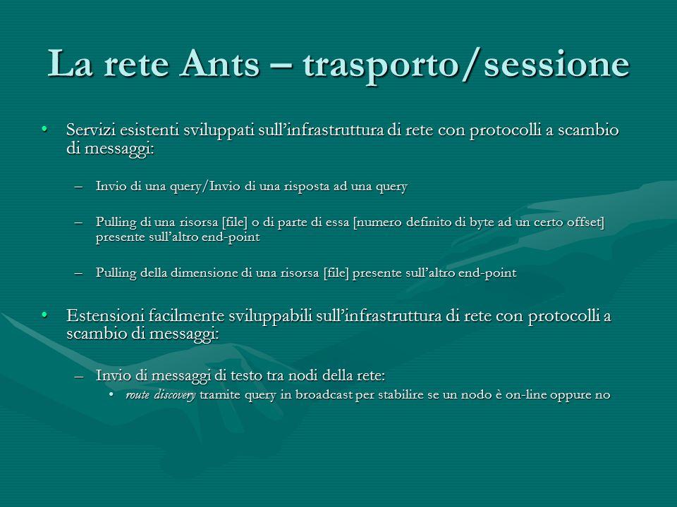 La rete Ants – trasporto/sessione Servizi esistenti sviluppati sull'infrastruttura di rete con protocolli a scambio di messaggi:Servizi esistenti svil