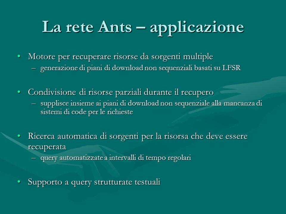 La rete Ants – applicazione Motore per recuperare risorse da sorgenti multipleMotore per recuperare risorse da sorgenti multiple –generazione di piani