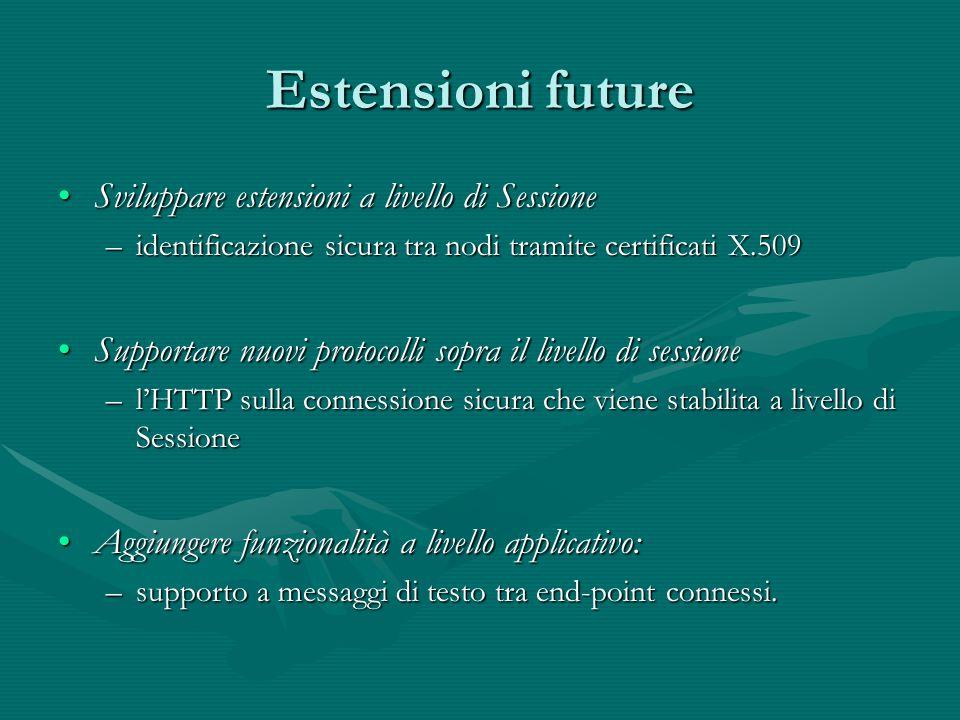 Estensioni future Sviluppare estensioni a livello di SessioneSviluppare estensioni a livello di Sessione –identificazione sicura tra nodi tramite cert