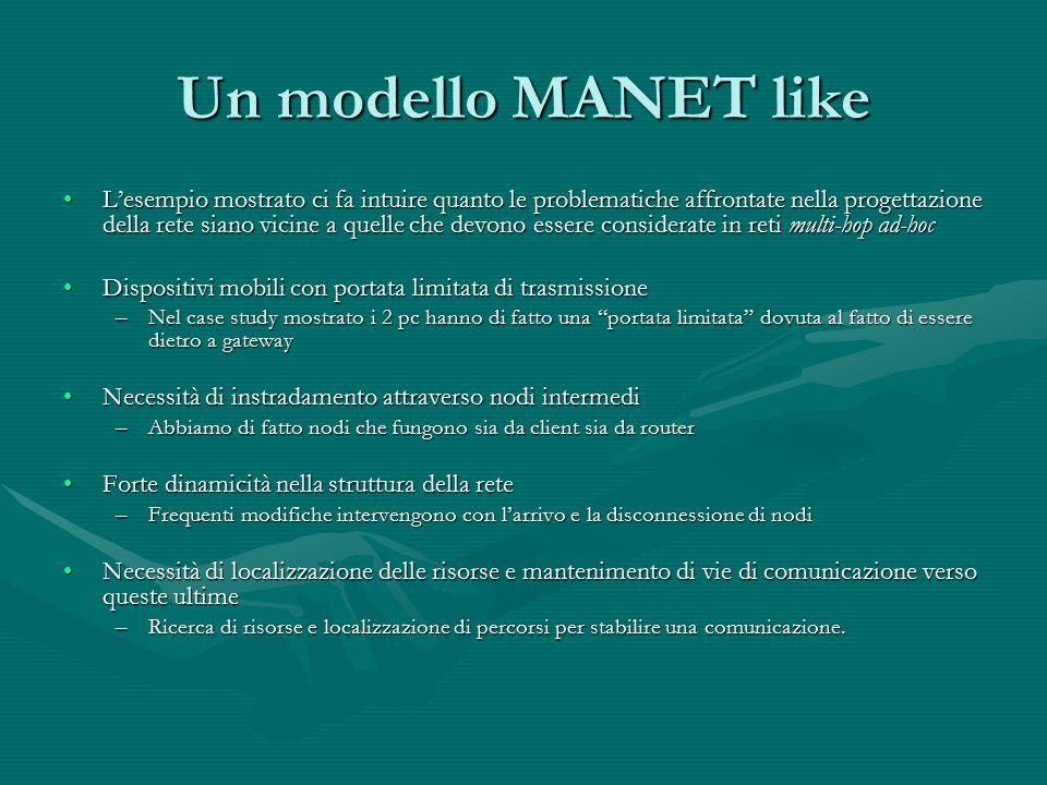 Un modello MANET like L'esempio mostrato ci fa intuire quanto le problematiche affrontate nella progettazione della rete siano vicine a quelle che dev