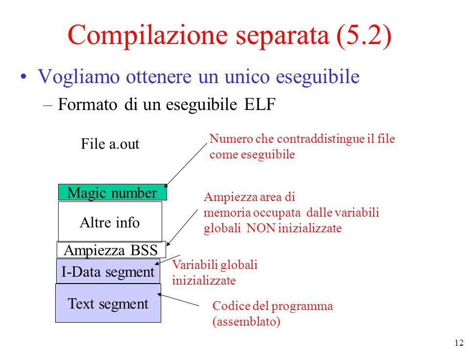 12 Compilazione separata (5.2) Vogliamo ottenere un unico eseguibile –Formato di un eseguibile ELF Text segment I-Data segment Ampiezza BSS Altre info Magic number File a.out Variabili globali inizializzate Ampiezza area di memoria occupata dalle variabili globali NON inizializzate Numero che contraddistingue il file come eseguibile Codice del programma (assemblato)