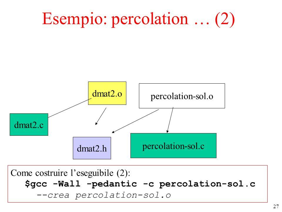 27 Esempio: percolation … (2) r.h percolation-sol.o dmat2.o percolation-sol.c dmat2.h dmat2.c Come costruire l'eseguibile (2): $gcc -Wall -pedantic -c percolation-sol.c --crea percolation-sol.o