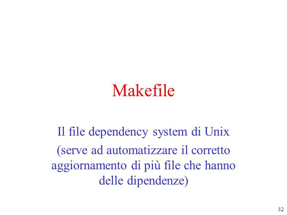 32 Makefile Il file dependency system di Unix (serve ad automatizzare il corretto aggiornamento di più file che hanno delle dipendenze)