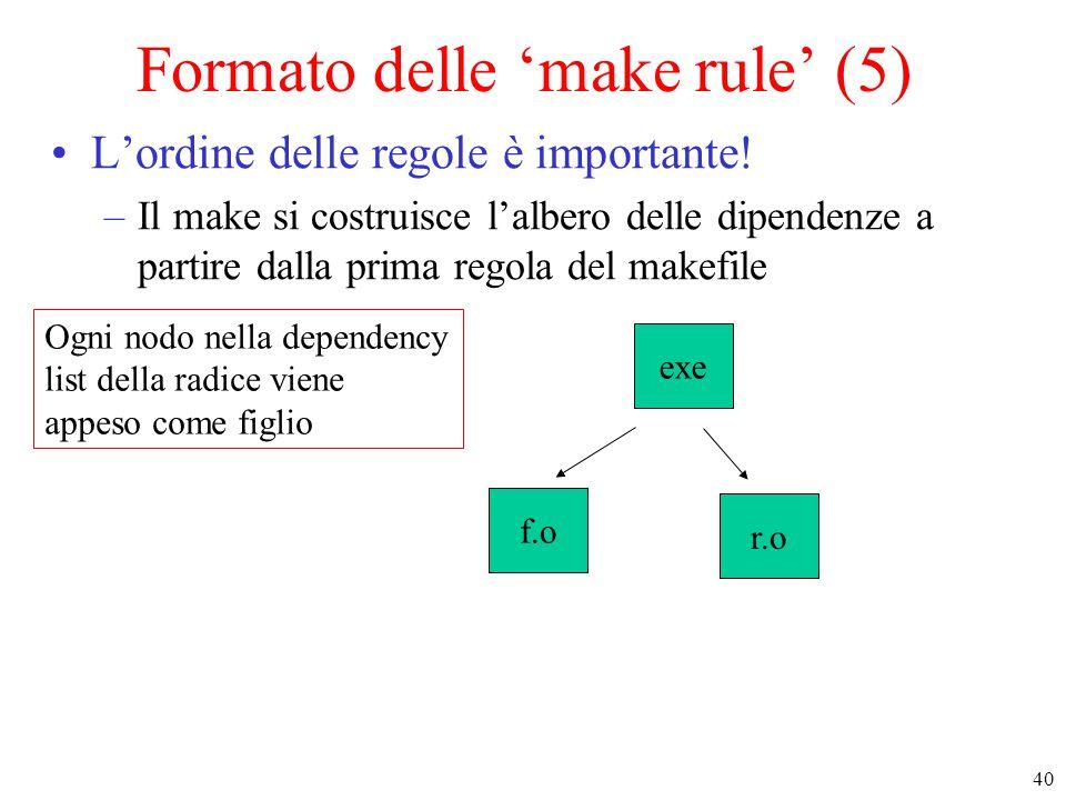 40 Ogni nodo nella dependency list della radice viene appeso come figlio r.o exe f.o Formato delle 'make rule' (5) L'ordine delle regole è importante.