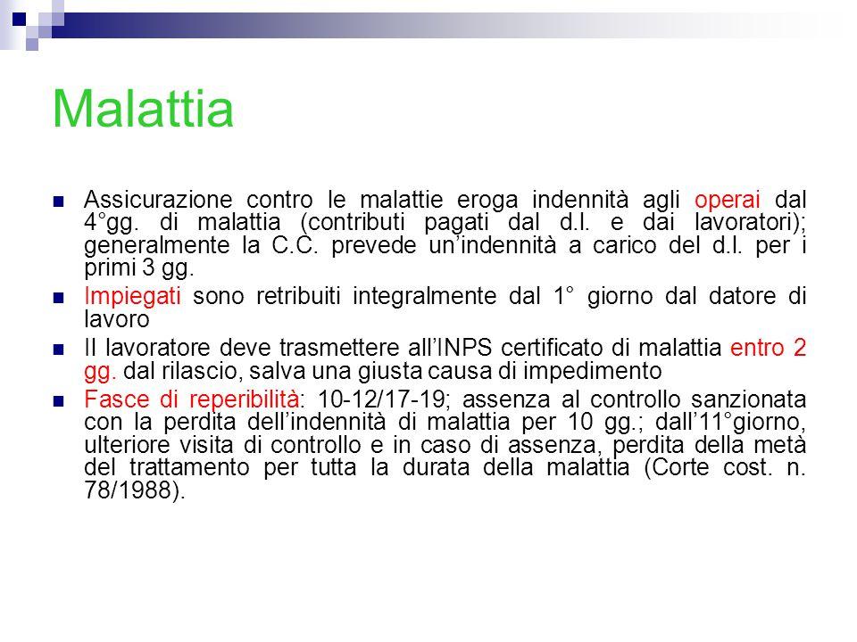 Malattia Pubblico impiego L.n. 133/2008 Fasce di reperibilità:9/13-15/18 d.m.