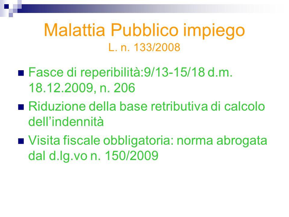 Malattia Pubblico impiego L. n. 133/2008 Fasce di reperibilità:9/13-15/18 d.m. 18.12.2009, n. 206 Riduzione della base retributiva di calcolo dell'ind
