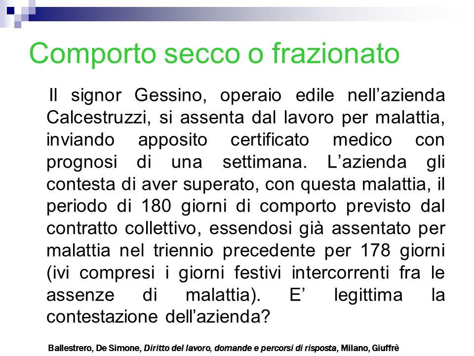 Comporto secco o frazionato Il signor Gessino, operaio edile nell'azienda Calcestruzzi, si assenta dal lavoro per malattia, inviando apposito certific