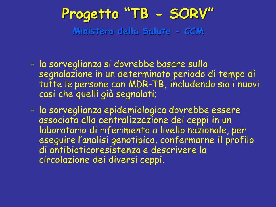 """Progetto """"TB - SORV"""" Ministero della Salute - CCM –la sorveglianza si dovrebbe basare sulla segnalazione in un determinato periodo di tempo di tutte l"""