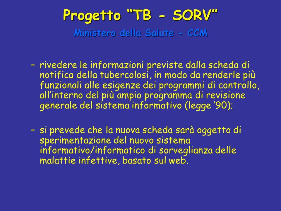 """Progetto """"TB - SORV"""" Ministero della Salute - CCM –rivedere le informazioni previste dalla scheda di notifica della tubercolosi, in modo da renderle p"""