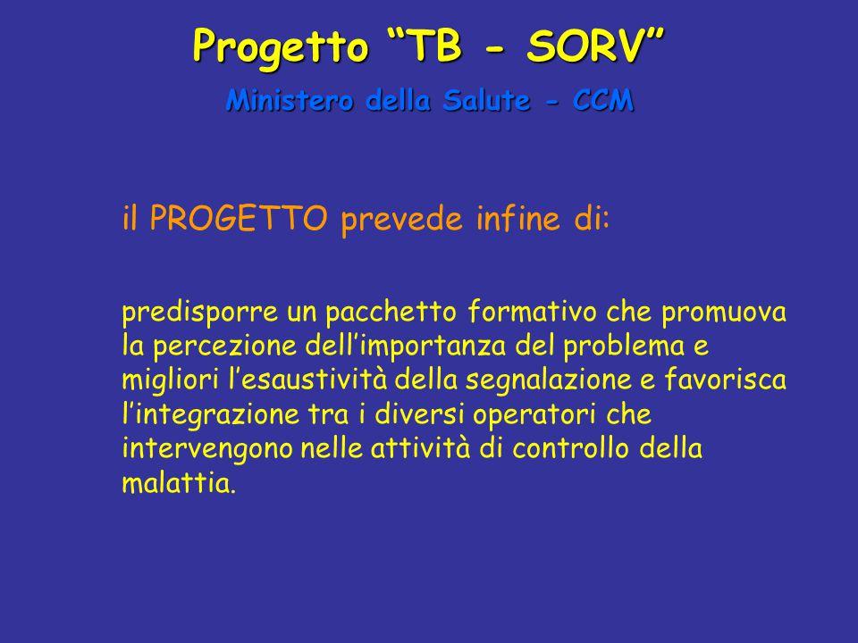 """Progetto """"TB - SORV"""" Ministero della Salute - CCM il PROGETTO prevede infine di: predisporre un pacchetto formativo che promuova la percezione dell'im"""