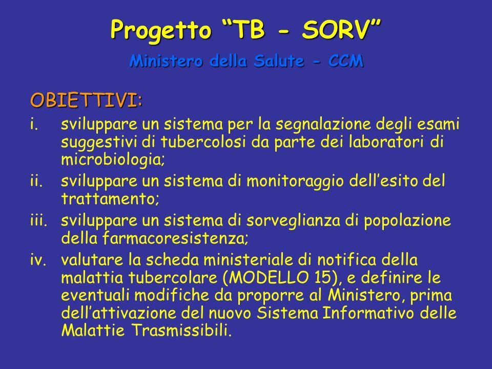 """Progetto """"TB - SORV"""" Ministero della Salute - CCM OBIETTIVI: i.sviluppare un sistema per la segnalazione degli esami suggestivi di tubercolosi da part"""
