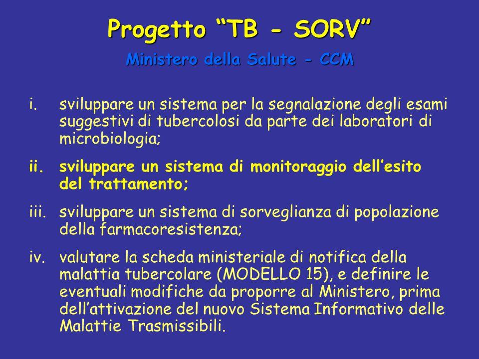 """Progetto """"TB - SORV"""" Ministero della Salute - CCM i.sviluppare un sistema per la segnalazione degli esami suggestivi di tubercolosi da parte dei labor"""