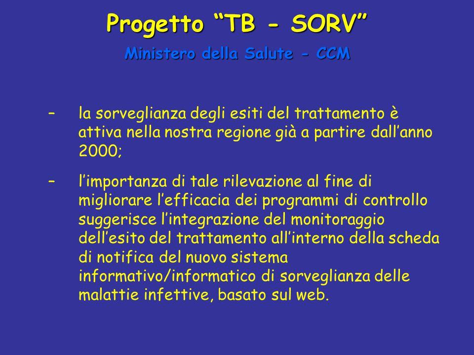 """Progetto """"TB - SORV"""" Ministero della Salute - CCM –la sorveglianza degli esiti del trattamento è attiva nella nostra regione già a partire dall'anno 2"""