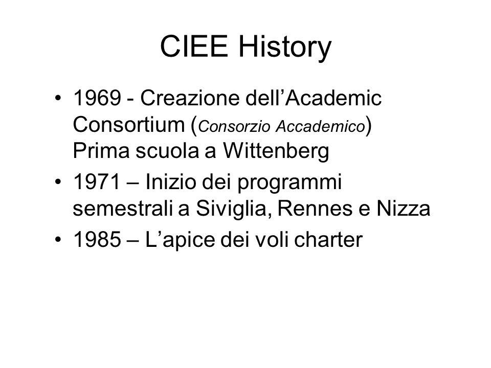 CIEE History 1969 - Creazione dell'Academic Consortium ( Consorzio Accademico ) Prima scuola a Wittenberg 1971 – Inizio dei programmi semestrali a Siviglia, Rennes e Nizza 1985 – L'apice dei voli charter