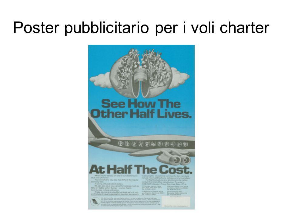 Poster pubblicitario per i voli charter