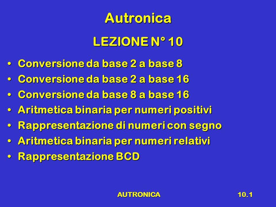 AUTRONICA10.2 Richiami Sistema numericoSistema numerico Base 2, 3, 4, 5, 8, 10, 12, 16Base 2, 3, 4, 5, 8, 10, 12, 16 Conversione da base N a base 10Conversione da base N a base 10 Conversione da base 10 a base N Conversione da base 10 a base N