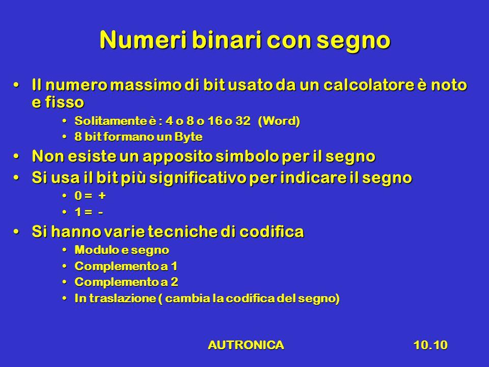 AUTRONICA10.10 Numeri binari con segno Il numero massimo di bit usato da un calcolatore è noto e fissoIl numero massimo di bit usato da un calcolatore
