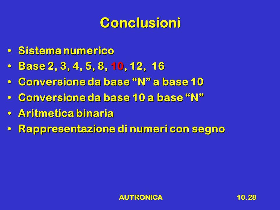 "AUTRONICA10.28 Conclusioni Sistema numericoSistema numerico Base 2, 3, 4, 5, 8, 10, 12, 16Base 2, 3, 4, 5, 8, 10, 12, 16 Conversione da base ""N"" a bas"