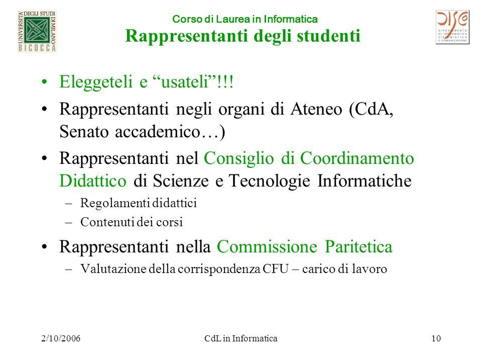 Corso di Laurea in Informatica 2/10/2006CdL in Informatica10 Rappresentanti degli studenti Eleggeteli e usateli !!.