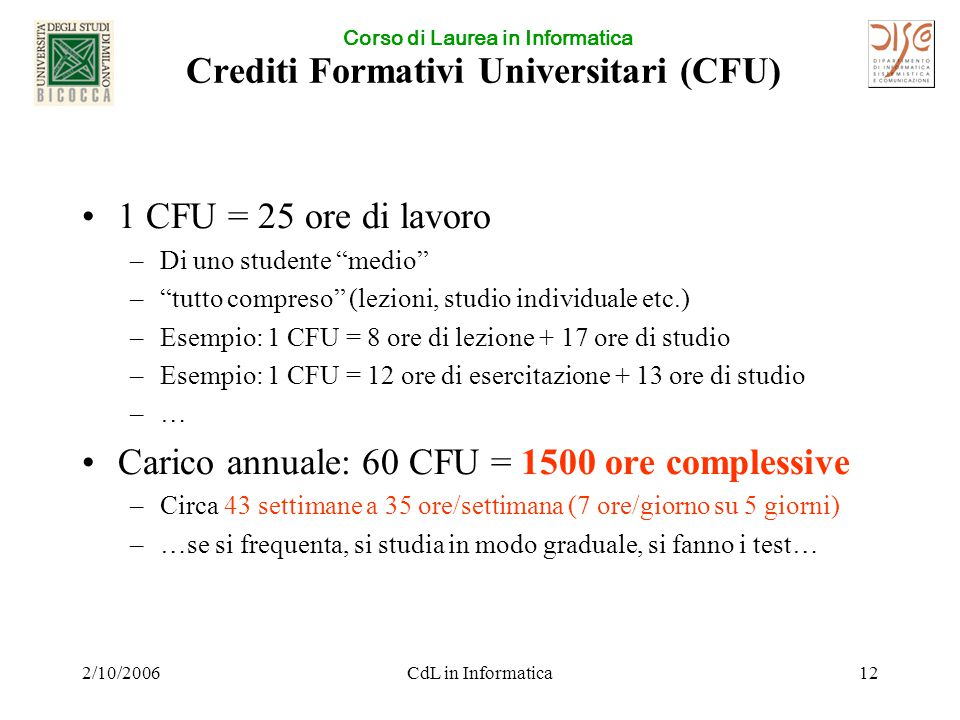 Corso di Laurea in Informatica 2/10/2006CdL in Informatica12 Crediti Formativi Universitari (CFU) 1 CFU = 25 ore di lavoro –Di uno studente medio – tutto compreso (lezioni, studio individuale etc.) –Esempio: 1 CFU = 8 ore di lezione + 17 ore di studio –Esempio: 1 CFU = 12 ore di esercitazione + 13 ore di studio –…–… Carico annuale: 60 CFU = 1500 ore complessive –Circa 43 settimane a 35 ore/settimana (7 ore/giorno su 5 giorni) –…se si frequenta, si studia in modo graduale, si fanno i test…