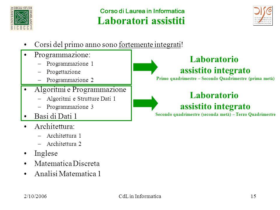 Corso di Laurea in Informatica 2/10/2006CdL in Informatica15 Laboratori assistiti Corsi del primo anno sono fortemente integrati.